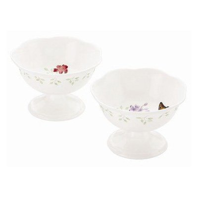 Lenox Butterfly Meadow Footed Dessert Bowl S/2