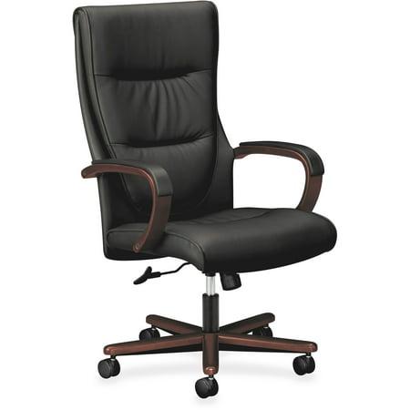 basyx VL844 Series High-Back Swivel/Tilt Chair, Black - Swivel Tilt Leather Chair