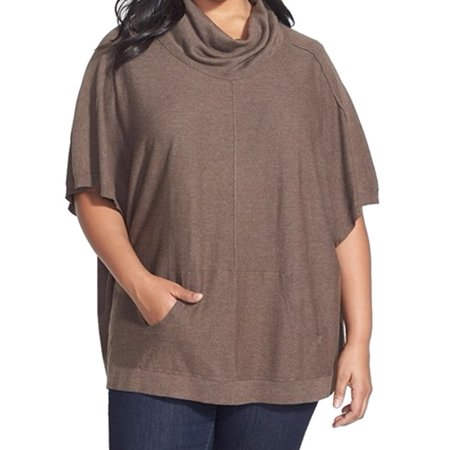 Sejour Nordstrom New Brown Womens Size 1X Plus Cowl Neck Poncho Sweater