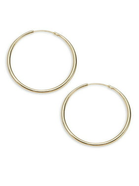 Gold Metal Textured Hoop Earrings
