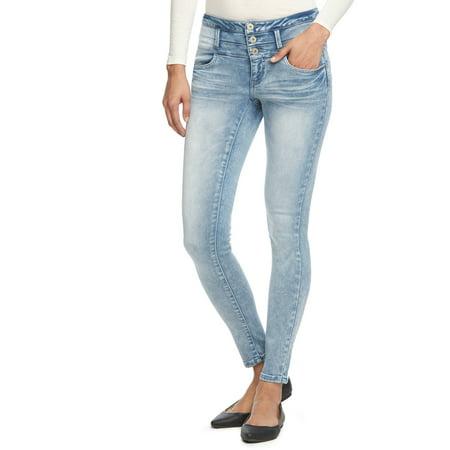 L.E.I. Juniors' Tatum Hi-Rise Triple Button Rayon Rich Jeans