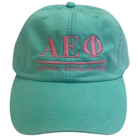 Alpha Epsilon Phi (B) Sea Foam Baseball Hat with Coral Thread