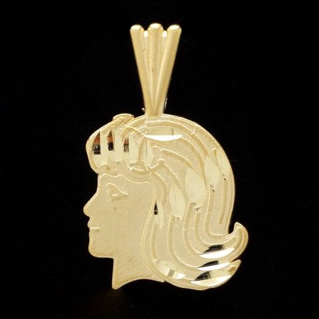 14K Yellow Gold Vintage Estate Michael Anthony Young Girl Side Face Pendant