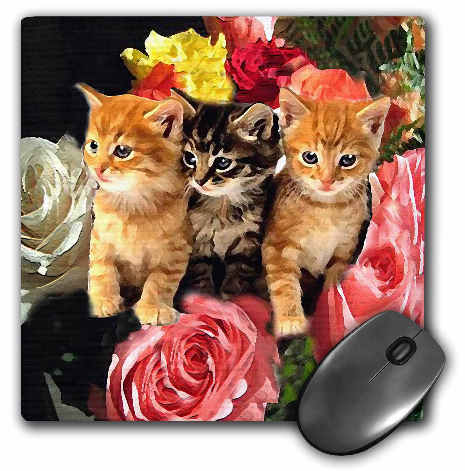 3dRose Cute Kittens, Mouse Pad, 8 by 8 inches