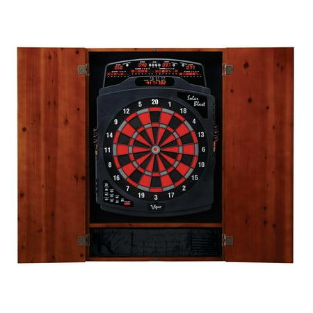 Viper Metropolitan Cinnamon Soft Tip Dartboard Cabinet and Viper Solar Blast Electronic Dartboard