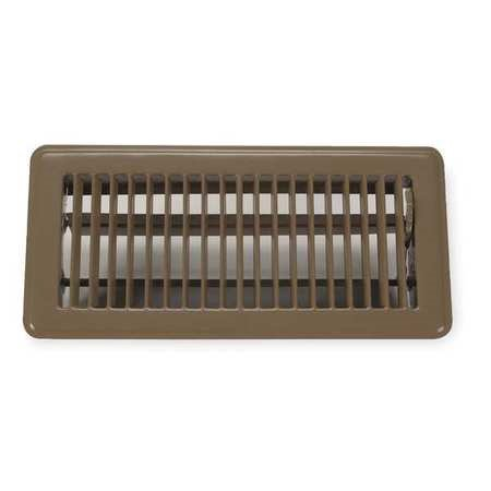 "ZORO SELECT 4JRR4 10"" x 4"" Floor Register, Brown"