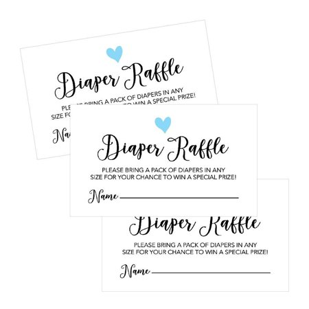 25 Diaper Raffle Ticket Lottery Insert Cards For Blue Boy Heart Baby Shower Invitations, Supplies and Games For Baby Gender Reveal Party, Bring a Pack of Diapers to Win Favors, Gifts and Prizes - Disneyland Tickets Halloween Party