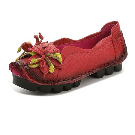 SOCOFY Womens Leather Loafers Flower Soft Flats Shoes Slip On Ethnic Anti-slip Causal