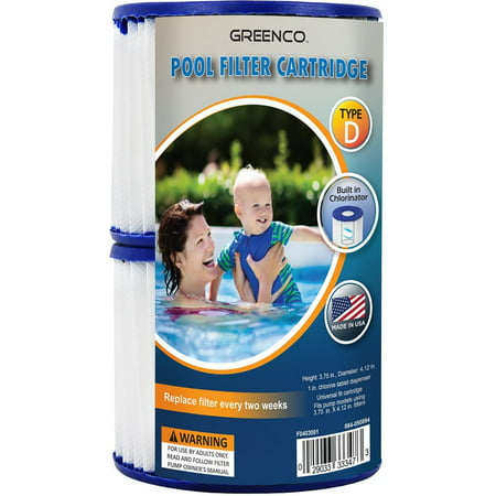 Greenco Type D Replacement Pool filter Cartridges with Built-in Chlorinator-Set of