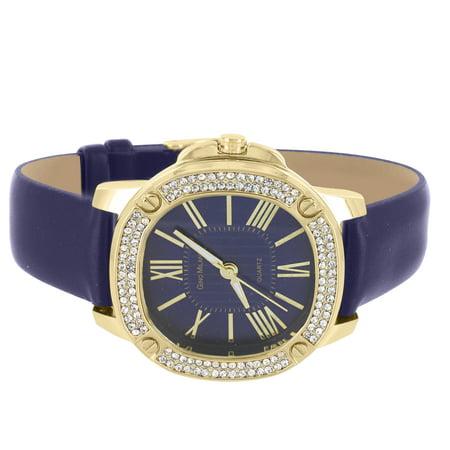 Diamond Bezel Leather (Gold Tone Ladies Watch Blue Dial Leather Bracelet Quartz Simulated Diamond Bezel New)
