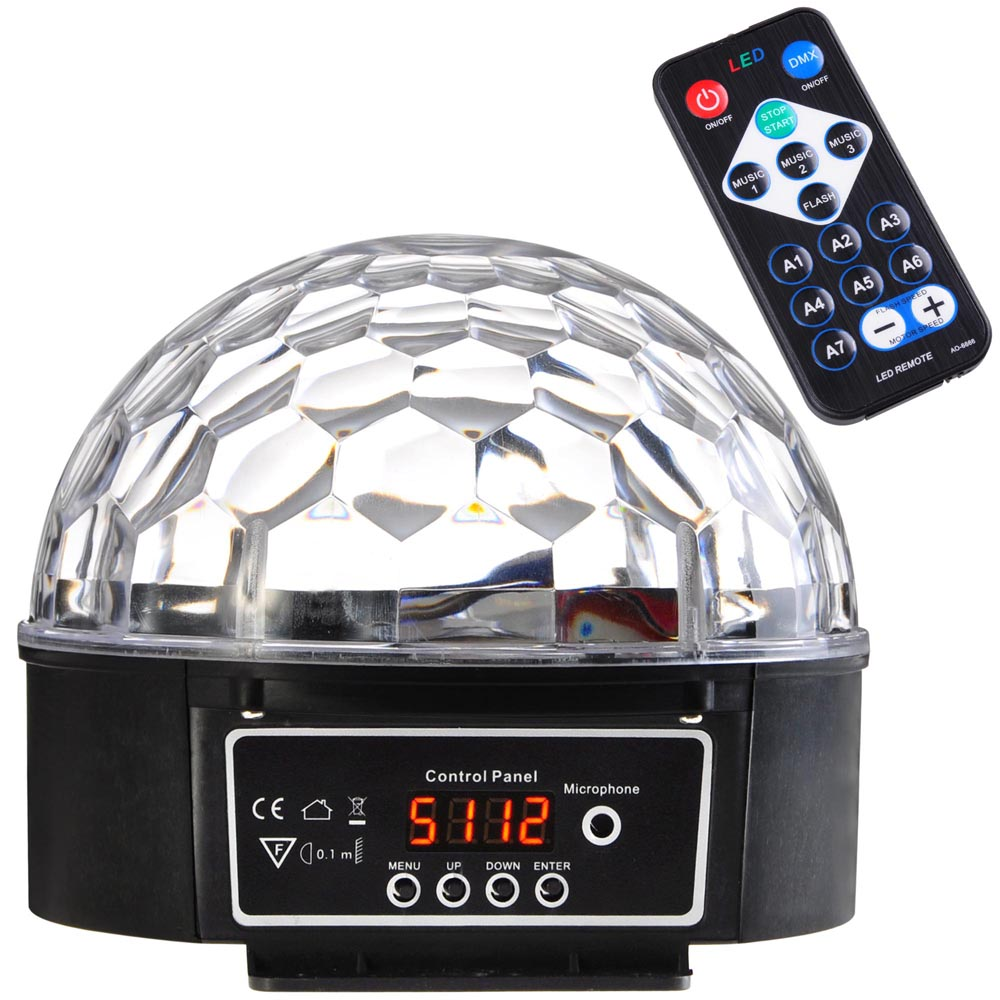 6LEDs Crystal Magic Ball +Remote Control 2Modes Voice-activated Stage LED Light Kit KTV Disco DJ Party Club by Yescom