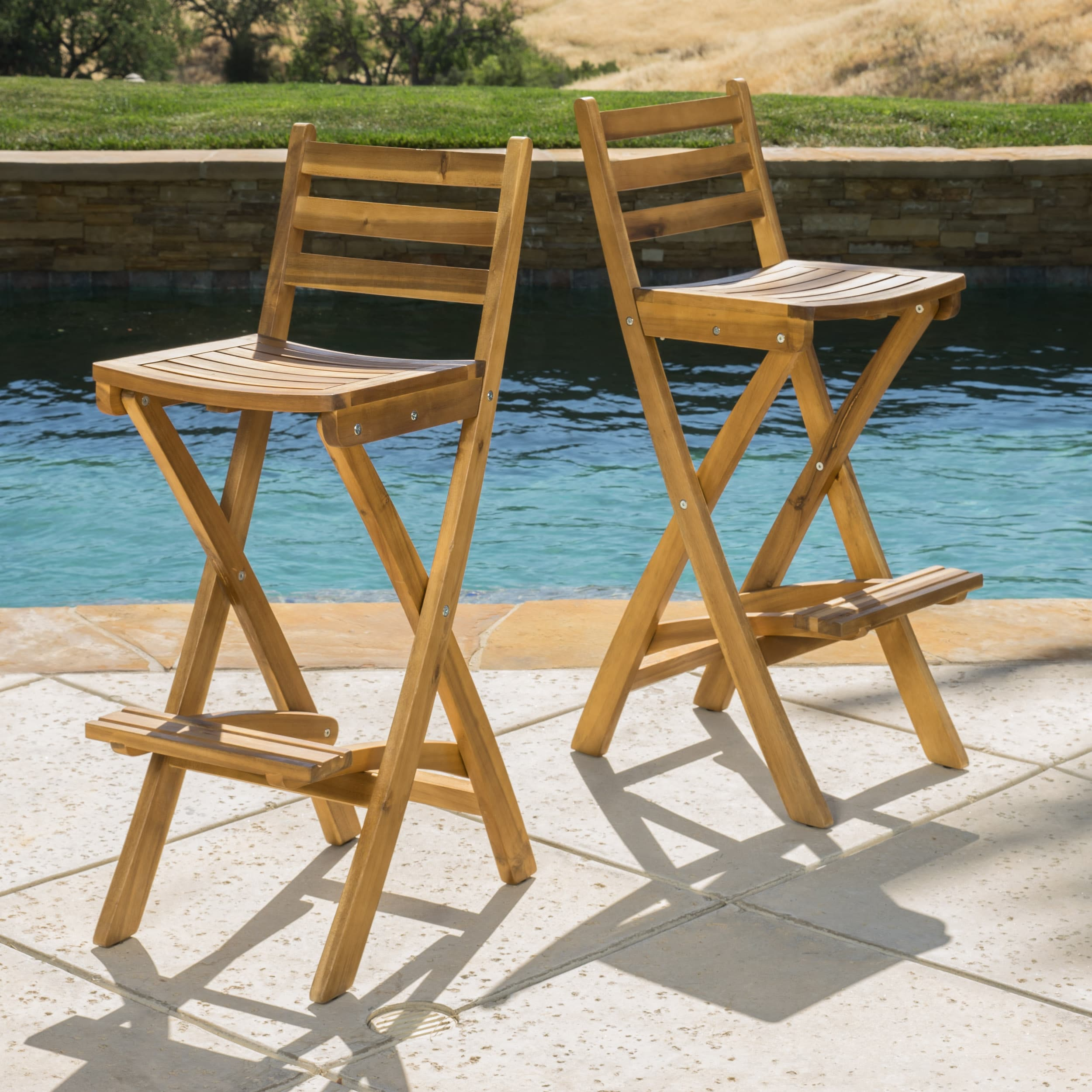 Christopher Knight Home Tundra Outdoor Acacia Wood Bar Stool by  (Set of 2)