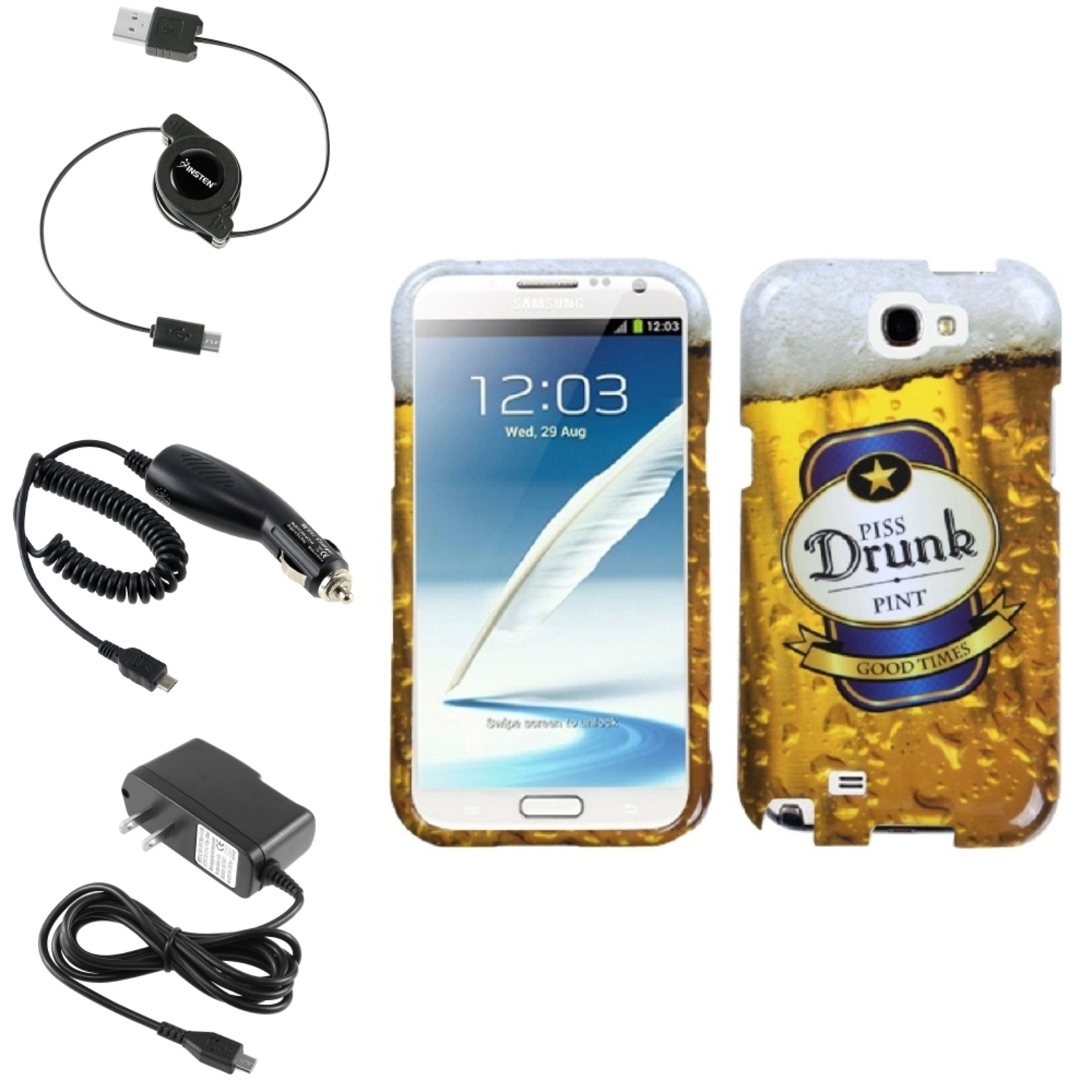 Insten Drunk Hard Case Car Home Charger Cable For Samsung Galaxy Note 2 II