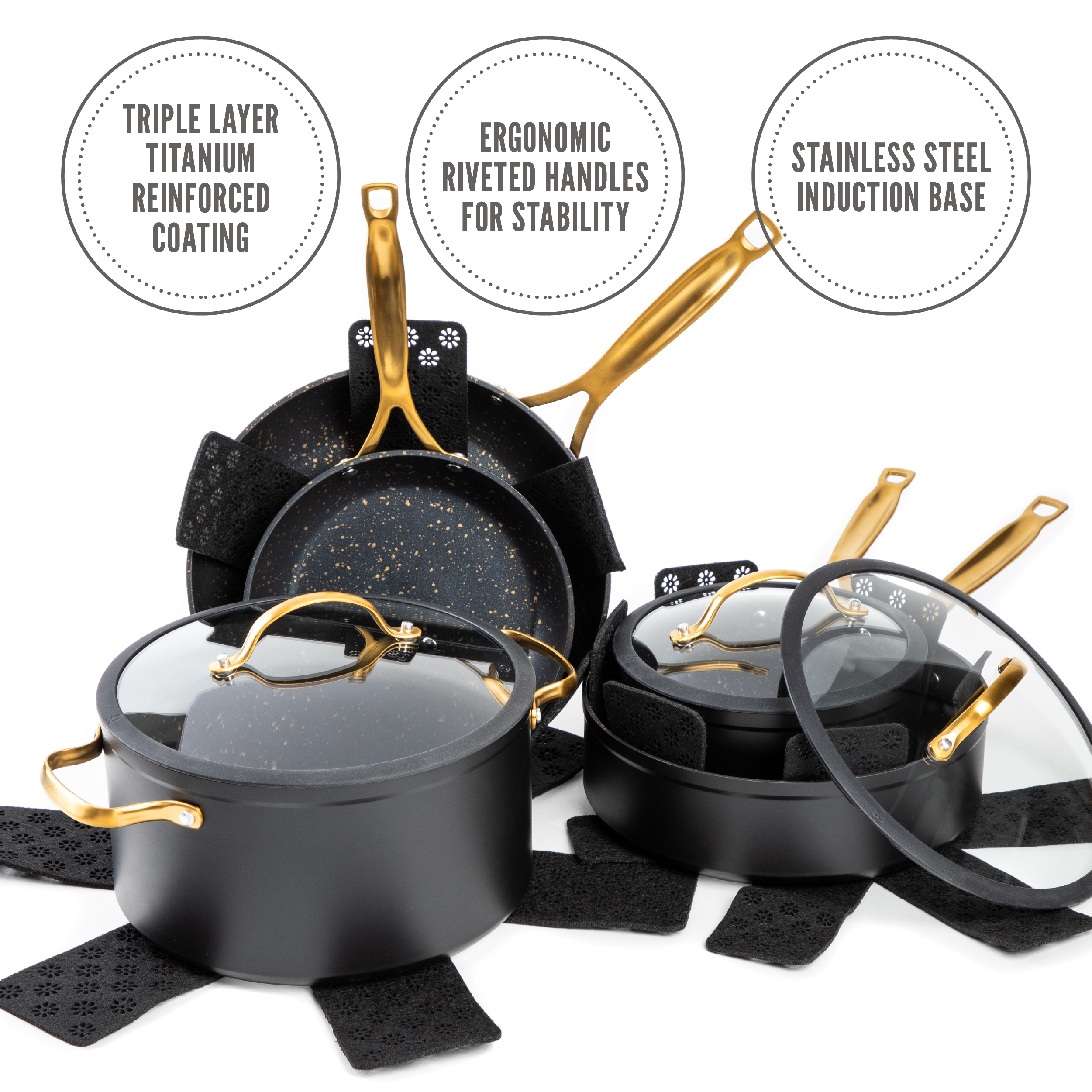 Thyme Table 12 Piece Nonstick Cookware Set Black And Gold Speckled Walmart Com Walmart Com