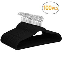 100PCS Non Slip Velvet Clothes Suit/Shirt/Pants Hangers Black 17.72 x 9.29 x 0.2 inch, Capacity 11 lb