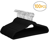 100PCS Non Slip Velvet Clothes Suit/Shirt/Pants Hangers Black