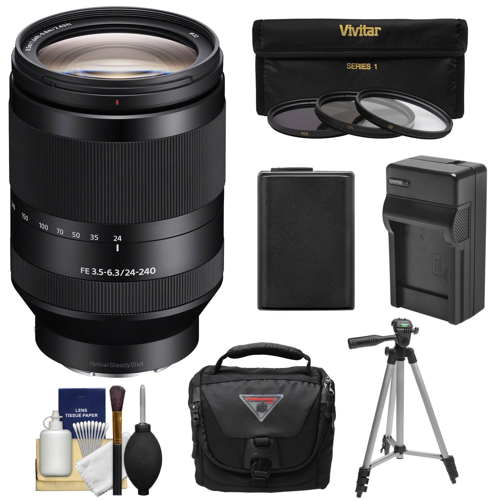 Camara Fotografica Compacta  Sony Alpha montura E FE 24-240mm f/3.5-6.3 lente de zumbido del OSS 3 filtros UV/CPL/ND8 + batería + cargador + caja + Kit de trípode para A7, A7R, A7S Mark II cámaras + Sony en Veo y Compro