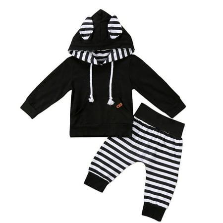 29afa3023 XIAXAIXU - 2PCS Newborn Kids Toddler Baby Boy Outfits Hoodie Tops T ...