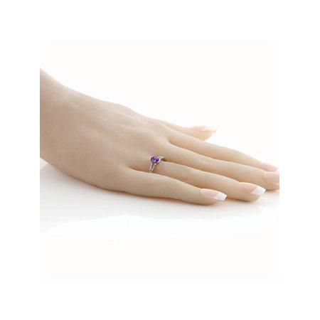 10K White Gold Women's Oval Purple Amethyst Diamond Ring - image 3 de 4