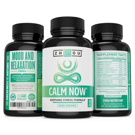 Best Zhou Nutrition Calm Now Soothing Stress Formula Vegetarian Capsules, 60 Ct deal