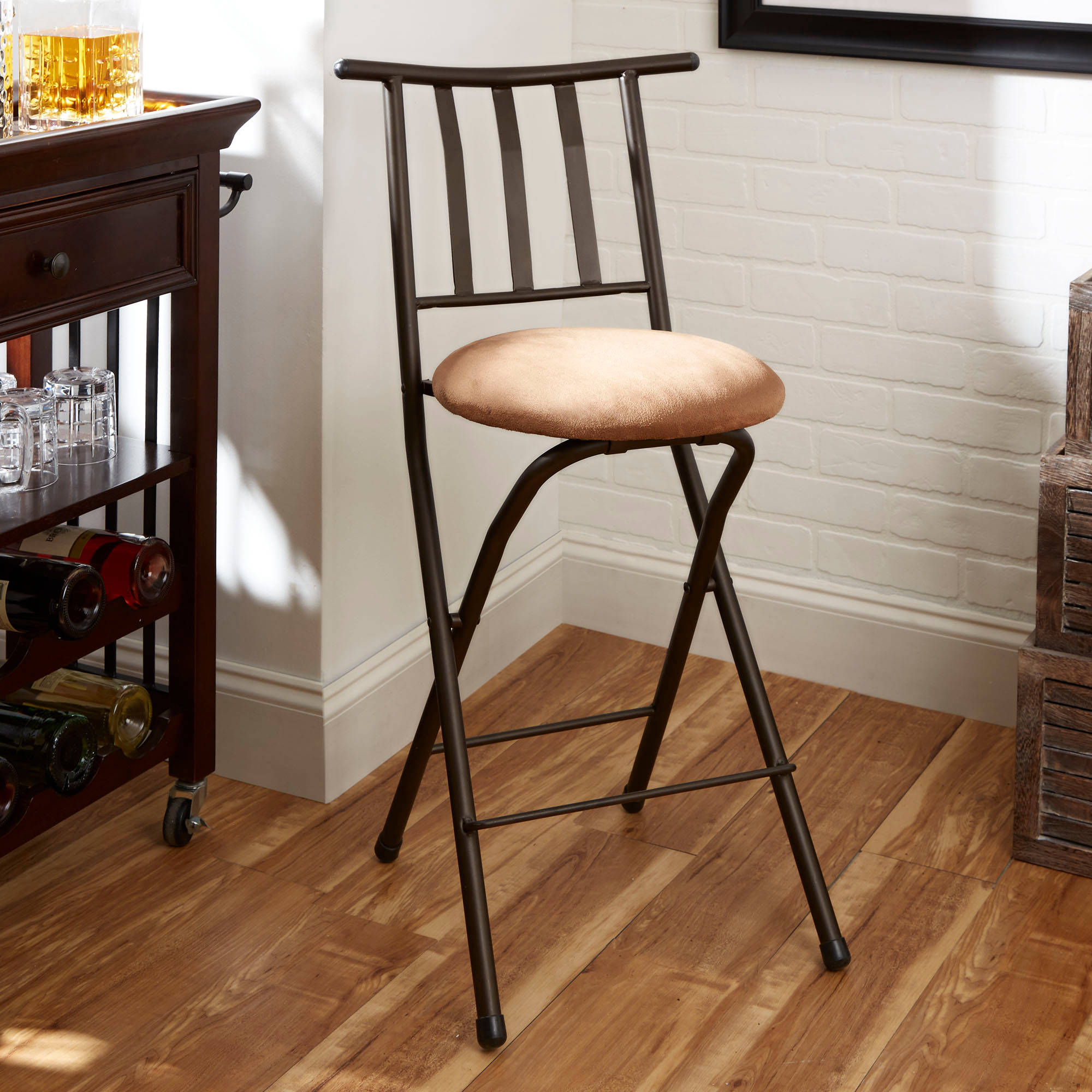 "Mainstays Slat-Back Folding 24"" Counter Height Bronze Barstool, Multiple Colors"