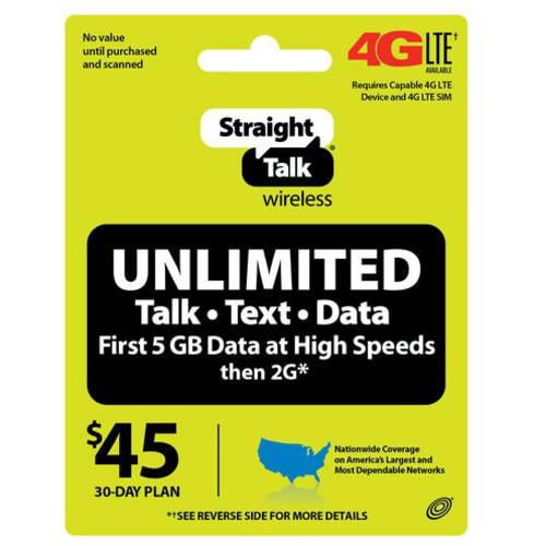 Straight Talk Wireless 45 30 Day Unlimited Plan Prepaid Phone Card Walmart Com Walmart Com