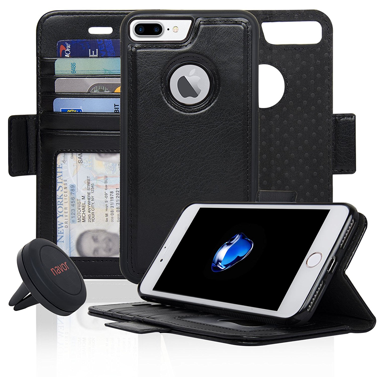 NAVOR Car Mount and iPhone 7 Plus & iPhone 8 Plus Detachable Magnetic Wallet Case [RFID Protection] [Apple Logo Hole] [Vajio Series] - Black