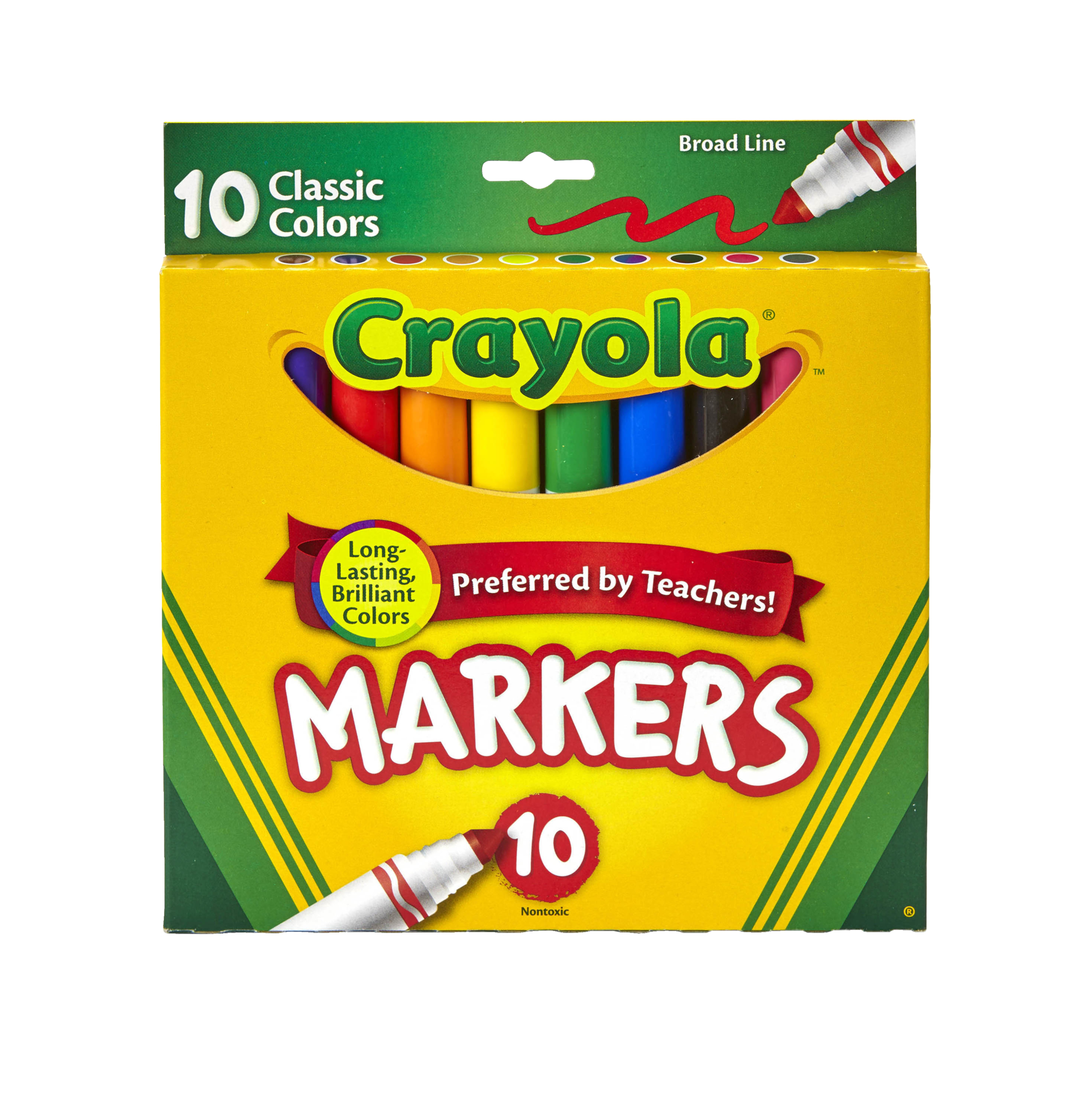 Crayola Original Broad Line Markers, Classic Colors, 10 Count