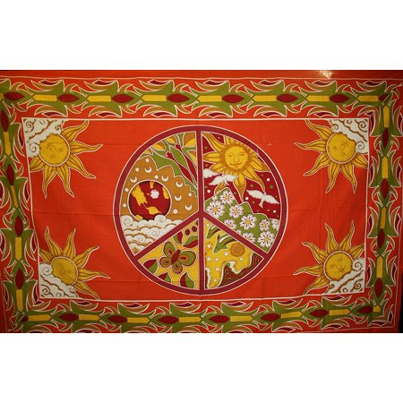Oma Peace Sign World Peace Tapestry Wall Hanging Decor Meditation Yoga Mat, 84