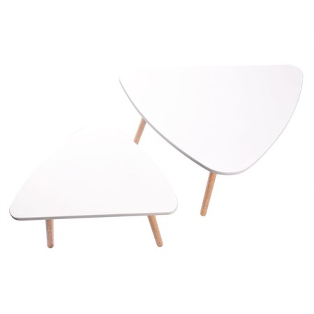 EECOO 2PCS Coffee Table Set Wooden Tea Table Nesting Corner Table Set Modern Furniture Decor for Living Room Balcony Home and Office White