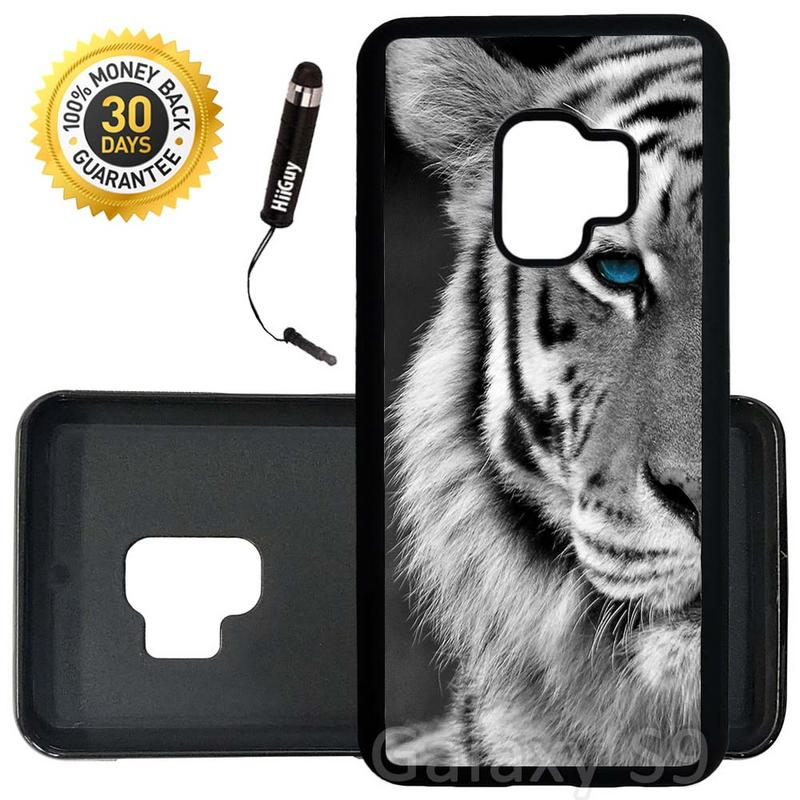 Custom Galaxy S9 Case (Beautiful Tiger with Blue Eyes) Edge-to-Edge Rubber Black Cover Ultra Slim | Lightweight | Includes Stylus Pen by Innosub