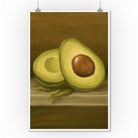 Avocado - Oil Painting - Lantern Press Artwork (9x12 Art Print, Wall Decor Travel Poster)
