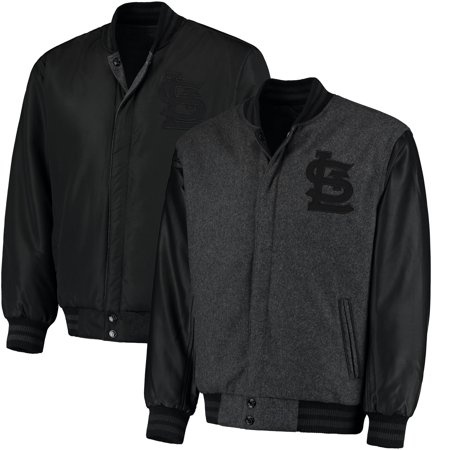 St. Louis Cardinals JH Designs MLB Reversible Wool Jacket - Heathered Charcoal