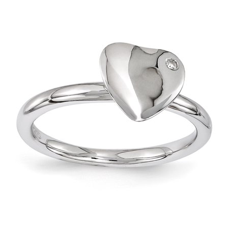 Sterling Silver Stackable Expressions Rhodium-plated Heart Diamond Ring Size 9 - image 3 of 3