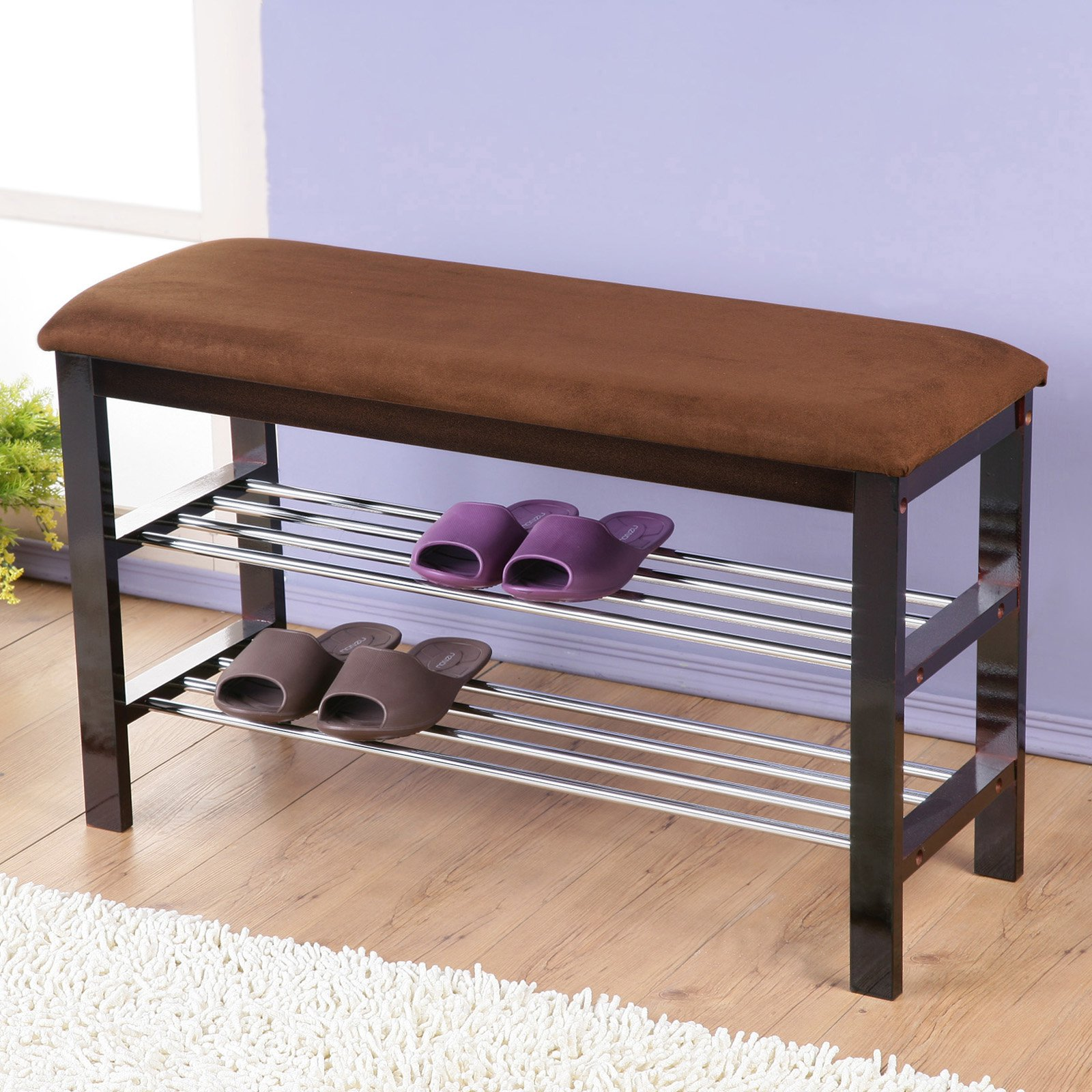 Roundhill Furniture Wood Shoe Bench