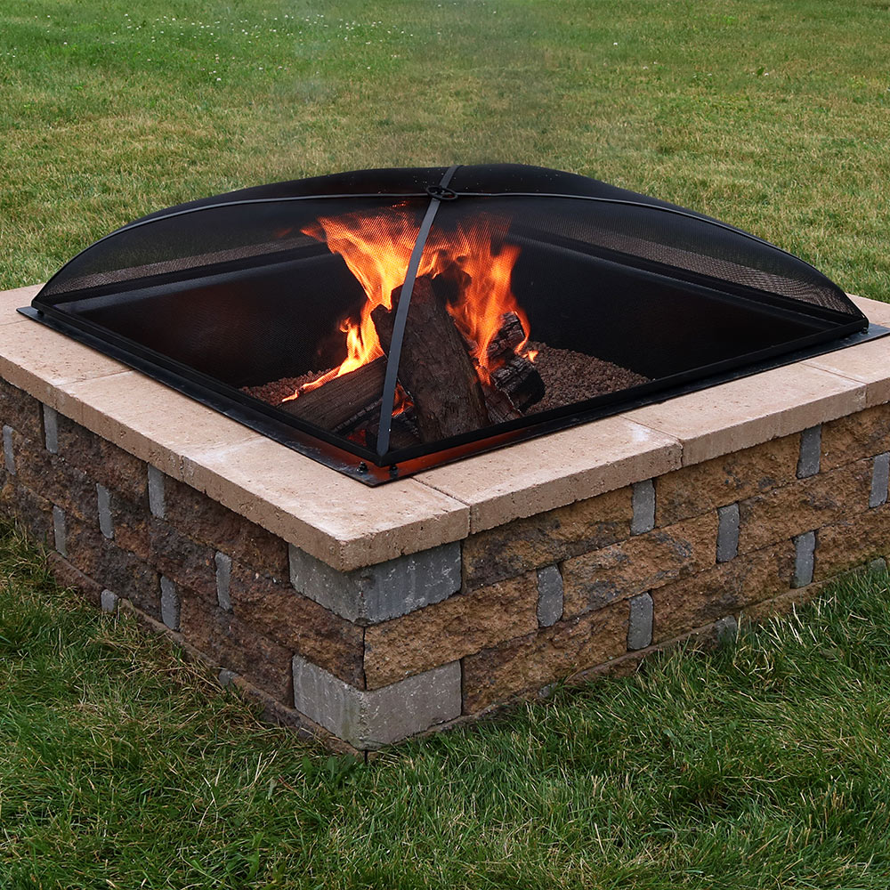 Sunnydaze Fire Pit Spark Screen Cover Outdoor Heavy Duty Square Firepit Lid Protector 30 Inch
