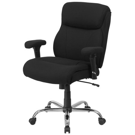 Flash Furniture HERCULES Series 400 lb Capacity Big and Tall Black Fabric Swivel Task Chair with Height Adjustable Arms