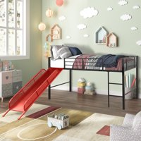 Junior Loft Bed, URHOMEPRO Twin Metal Loft Bed with Red Slide, Multifunctional Design Kids Loft Bed for Boys & Girls, Heavy Duty Metal Loft Bed for Bedroom, No Box Spring Needed, L2706