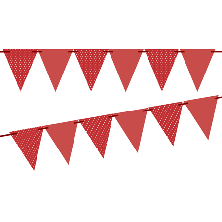Red Polka Dot / Red Solid 10ft Vintage Pennant Banner Paper Triangle Bunting Flags for Weddings, Birthdays, Baby Showers, Events & - Paper Banners