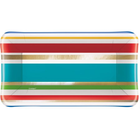 Foil Party Diamond Striped Appetizer Plates, 8ct