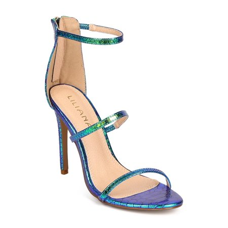 889c8f84f Liliana - Liliana DI15 Women Hologram Leatherette Open Toe Thin Strap  Stiletto Single Sole Sandal - Walmart.com