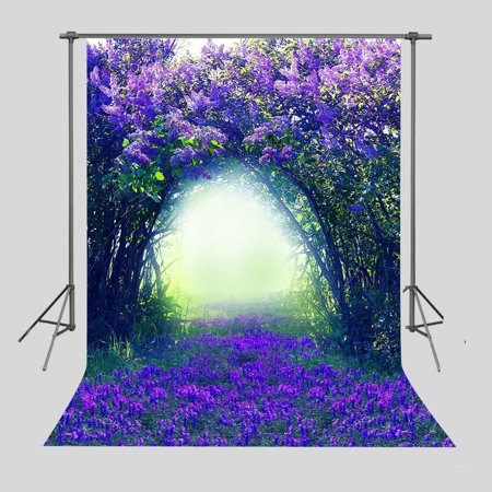 MOHome Polyster Background 5x7ft Purple Blue Flowers Photography Backdrop Studio Photo Props Room Mural