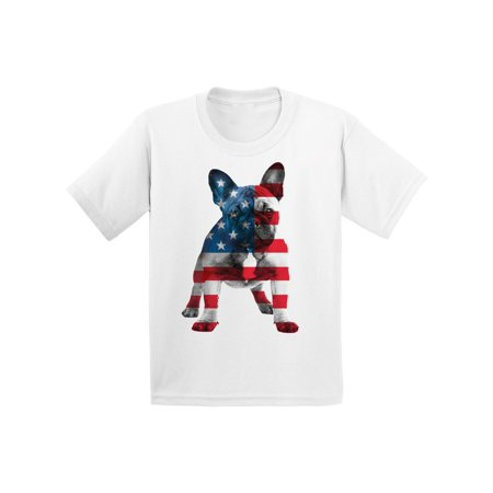 Awkward Styles American Flag French Bulldog Youth Shirt I'm American USA French Bulldog T shirt for Boy Proud American USA French Bulldog T shirt for Girl Red White Blue USA Flag Bulldog Kids Tshirt