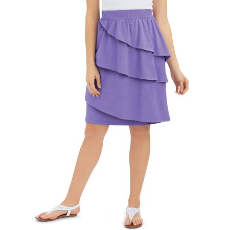 Women's Cotton Ruffled Knee Length Skirt with Three Asymmetrical Tiers with Elastic Waistband, X-Large, Lilac