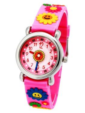 Waterproof 3D Cute Cartoon Digital Silicone Wristwatches Time Teacher Gift for Little Girls Boy Kids Children  (Pink -Sunflower)