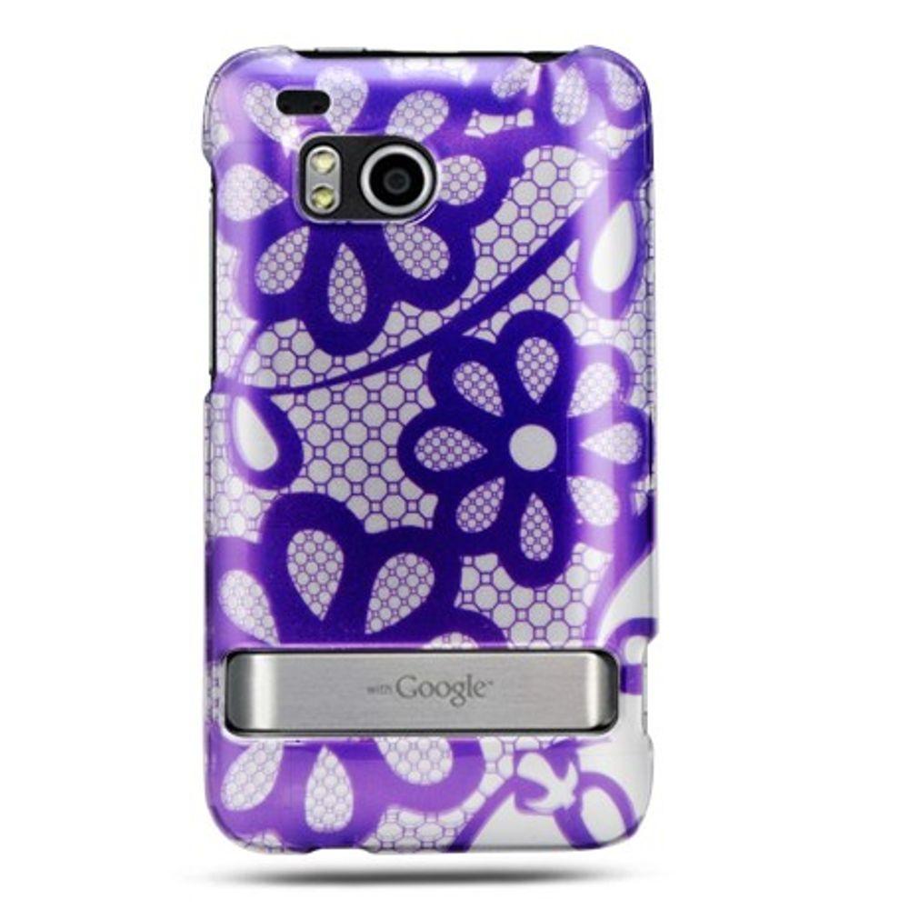 Insten Hard Case w/stand For HTC ThunderBolt 4G - Purple/White - image 2 de 2