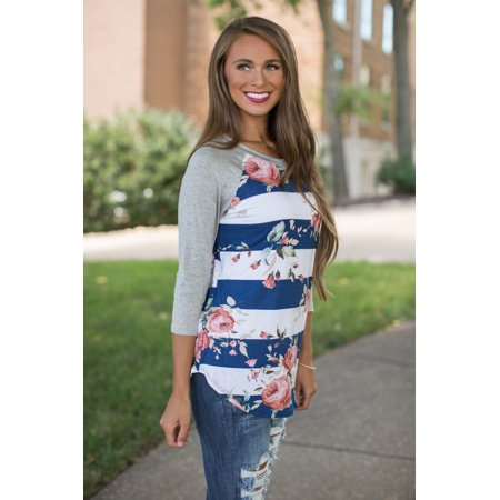 Womens 3 4 Sleeve Floral Print T Shirts Casual Striped Blouse Tops