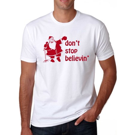 Santa Don't Stop Believing T-Shirt Vintage Shirt for the Holidays 80s Rock (Song Santa)