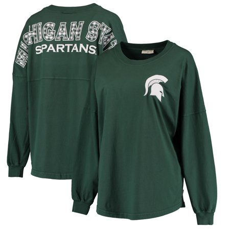 Michigan State Spartans Women's Gingham Plaid Fill Lightweight Oversized Spirit Jersey Top - Green - Spirit Jersey Cheap