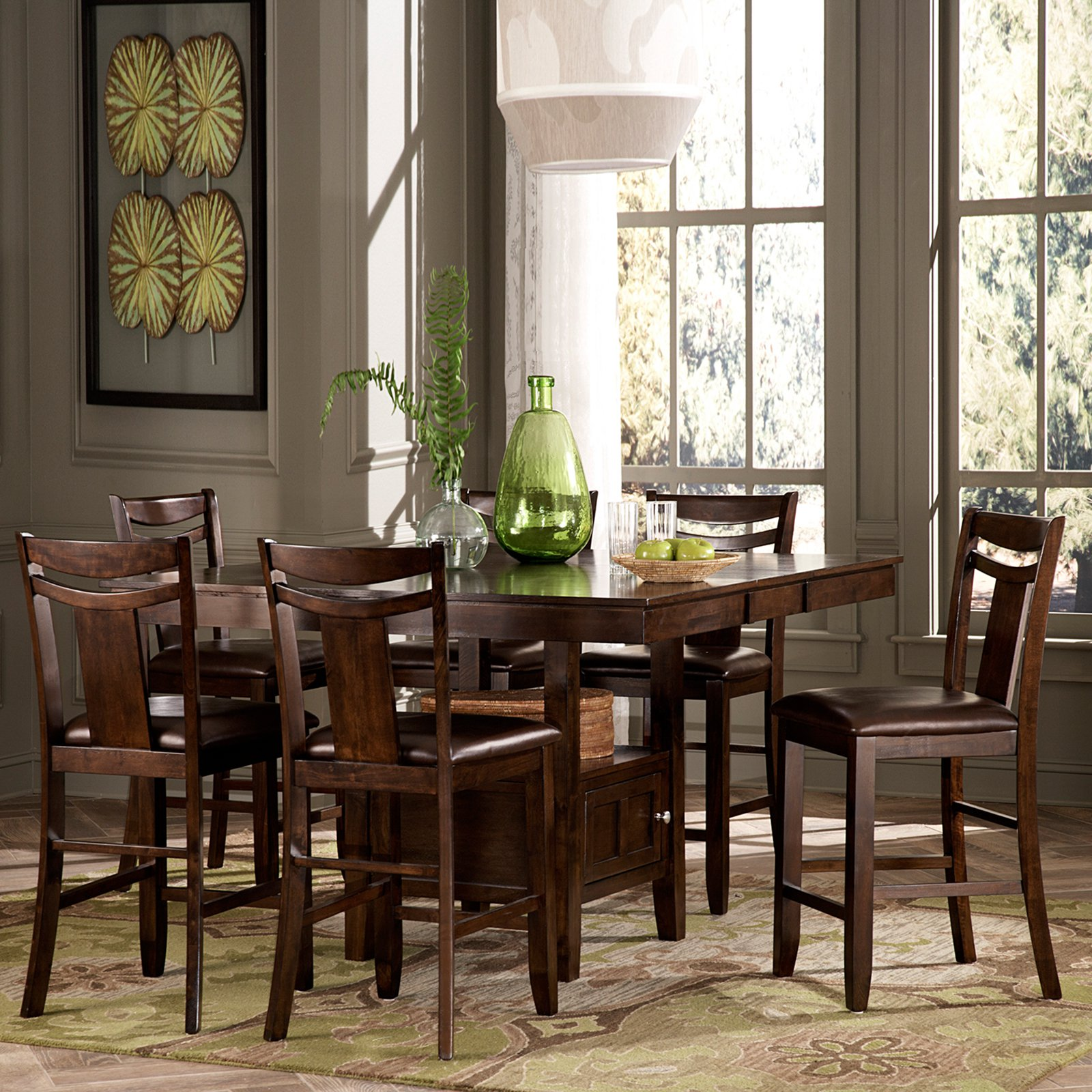 Weston Home Broome 7-Piece Counter Height Expandable Storage Dining Table Set - Dark Brown